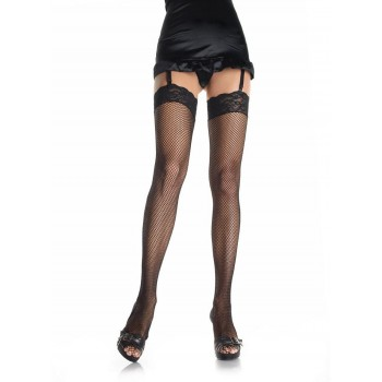 Plus Size - Fishnet Stockings w/ Lace Top